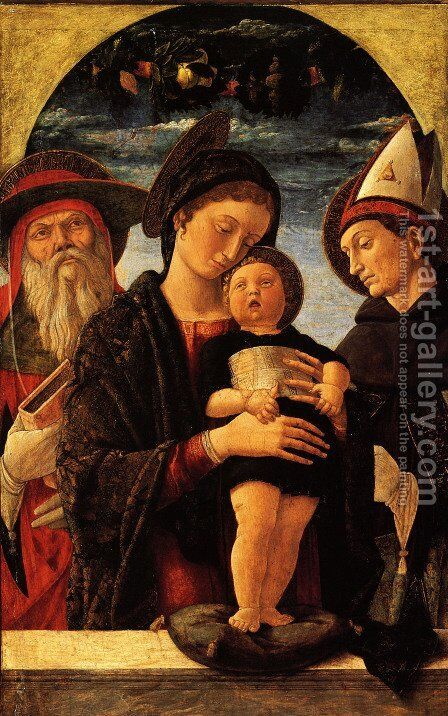 The Virgin and Child with Saint Jerome and Louis of Toulouse by Andrea Mantegna - Reproduction Oil Painting
