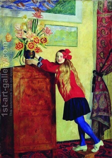 Girl with flowers by Boris Kustodiev - Reproduction Oil Painting
