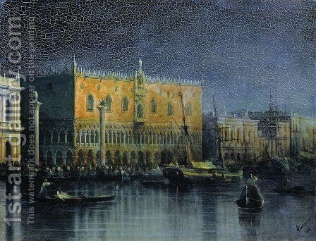 Palace rains in Venice by moonlight by Ivan Konstantinovich Aivazovsky - Reproduction Oil Painting