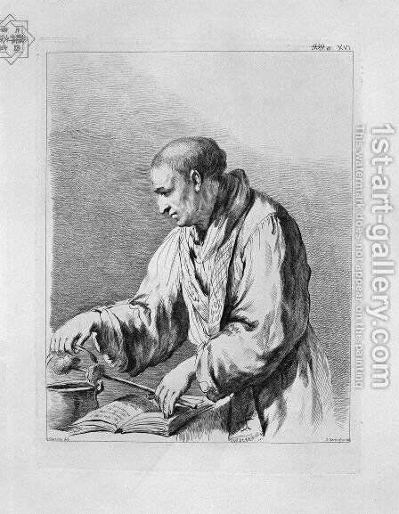 Half figure depicting a priest with the holy water, by Guercino by Giovanni Battista Piranesi - Reproduction Oil Painting