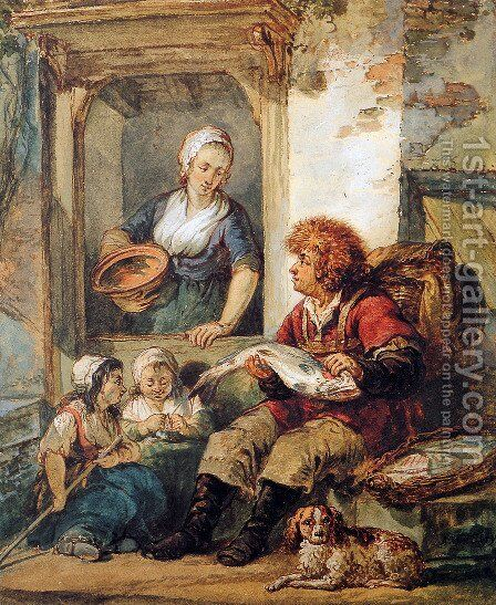 Fish salesman at woman and chidren by Abraham van, I Strij - Reproduction Oil Painting