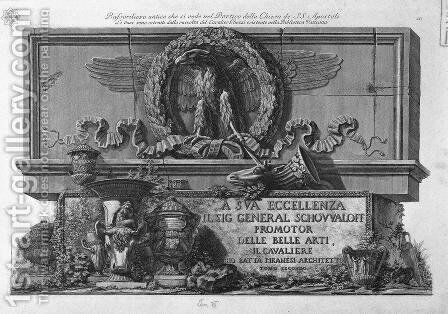 Cover Page. Above the eagle of the Holy Apostles Roman portico at the bottom of the vases in the Vatican Library Collection Ghezzi On a slab of marble, the inscription in relief. by Giovanni Battista Piranesi - Reproduction Oil Painting