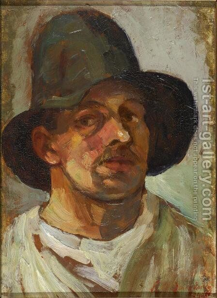 Self portrait with hat 2 by Theo van Doesburg - Reproduction Oil Painting