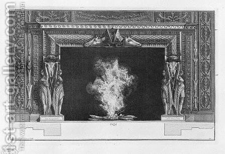 Fireplace on each side two standing figures, a naked and draped, a rich interior wing by Giovanni Battista Piranesi - Reproduction Oil Painting