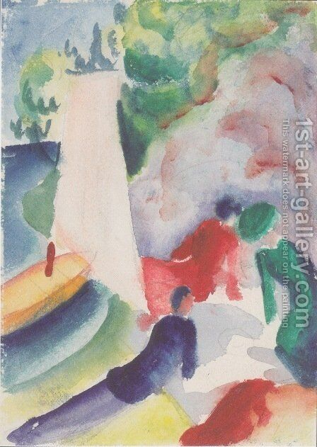 Picnic on the beach by August Macke - Reproduction Oil Painting