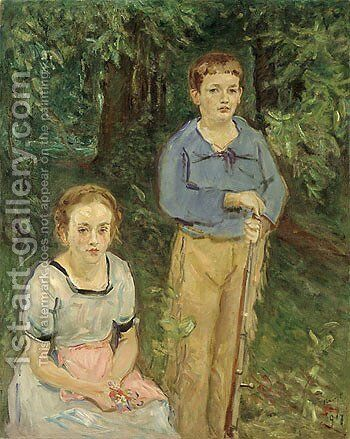 Portrait of Nina and Wolfgang Slevogt (Children in the Forest) by Max Slevogt - Reproduction Oil Painting