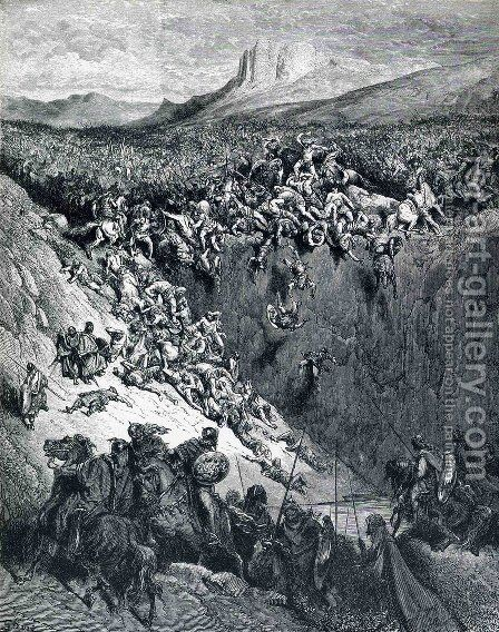 Samson Destroys the Philistines with an Ass' Jawbone by Gustave Dore - Reproduction Oil Painting