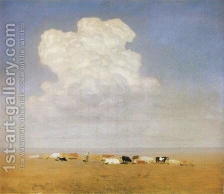 Noon. Herd in the steppe by Arkhip Ivanovich Kuindzhi - Reproduction Oil Painting