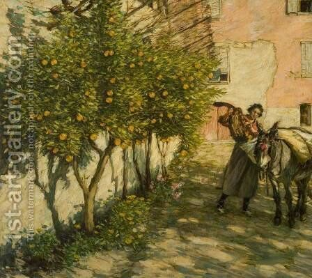 Gathering Oranges by Henry Herbert La Thangue - Reproduction Oil Painting