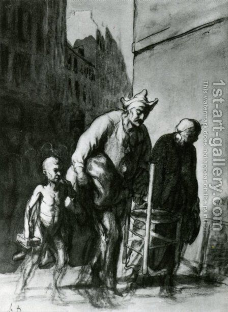 The Displacement of the Travelling Acrobats by Honoré Daumier - Reproduction Oil Painting