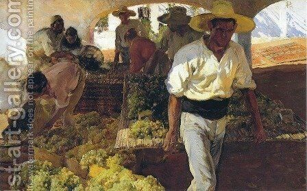 Preparing Raisins by Joaquin Sorolla y Bastida - Reproduction Oil Painting