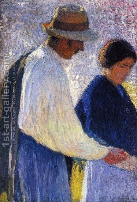 The Married Couple Study for Reapers by Henri Martin - Reproduction Oil Painting