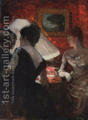 Around the Shade by Giuseppe de Nittis - Reproduction Oil Painting