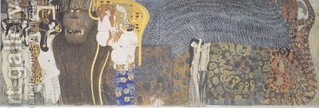 The Beethoven Frieze The Hostile Powers. Far Wall by Gustav Klimt - Reproduction Oil Painting