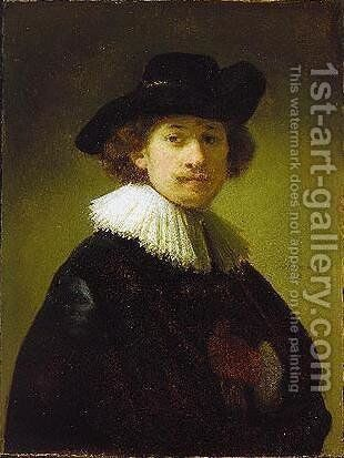Self-portrait with hat by Rembrandt - Reproduction Oil Painting