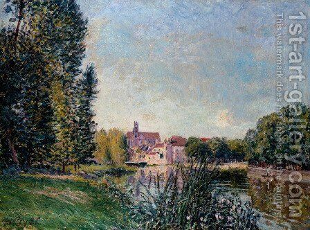 Loing River and Church at Moret by Alfred Sisley - Reproduction Oil Painting