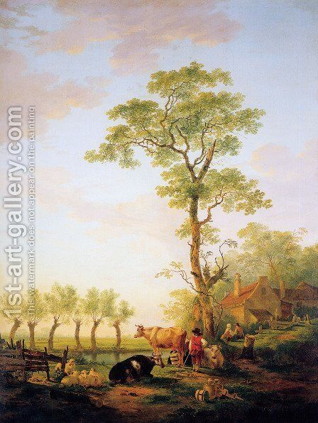 Dutch landscape with cattle and farm by Jacob van Strij - Reproduction Oil Painting