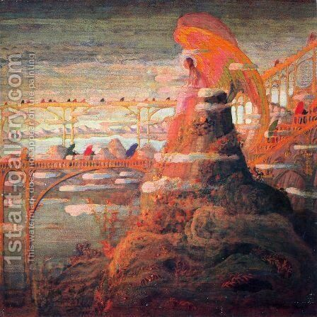 Angel (Angel prelude) by Mikolajus Ciurlionis - Reproduction Oil Painting