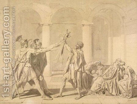 The Oath of the Horatii, according to David by Jean Auguste Dominique Ingres - Reproduction Oil Painting