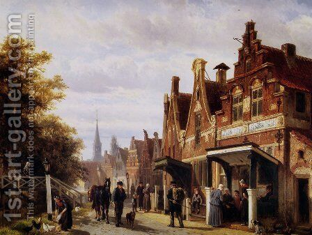 Village view by Cornelis Springer - Reproduction Oil Painting
