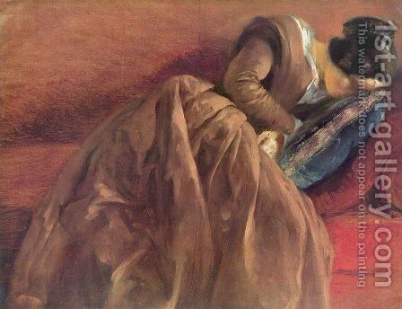 Emilie Menzel Asleep by Adolph von Menzel - Reproduction Oil Painting