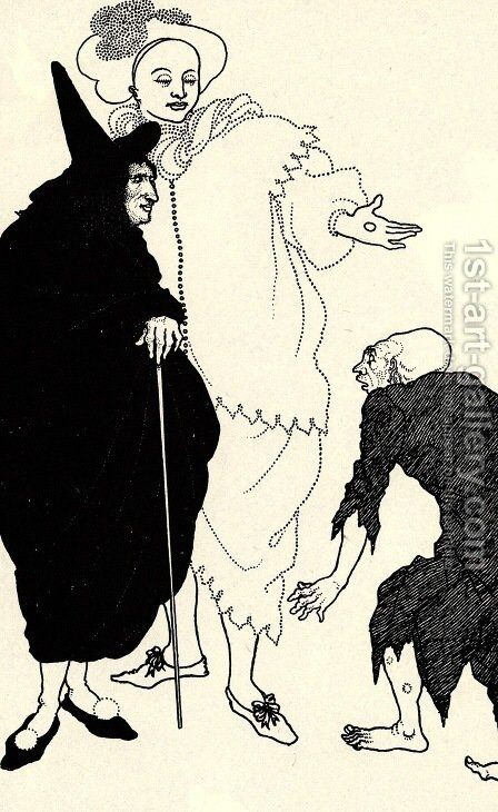 Don Juan, Sganarelle and the Beggar by Aubrey Vincent Beardsley - Reproduction Oil Painting