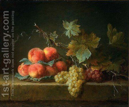 Still Life with Peaches and Grapes by Anne Vallayer-Coster - Reproduction Oil Painting