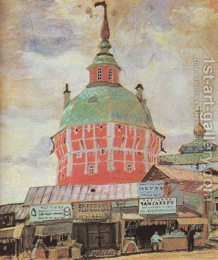 Red Tower of Troitse-Sergeevsky Lavra by Boris Kustodiev - Reproduction Oil Painting
