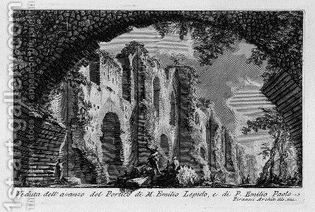 The Roman antiquities, t. 1, Plate XX. Portico of Marcus Aemilius Lepidus and P. Aemilius Paulus. by Giovanni Battista Piranesi - Reproduction Oil Painting