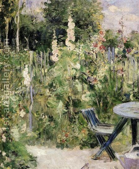 Roses Tremieres (Hollyhocks) by Berthe Morisot - Reproduction Oil Painting