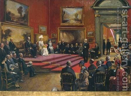 The Opening of the Modern Foreign and Sargent Galleries at the Tate Gallery, 26 June 1926 by Sir John Lavery - Reproduction Oil Painting