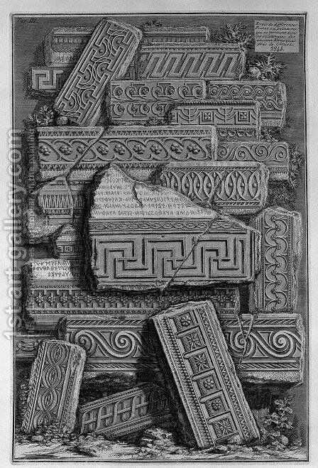 Friezes of Etruscan tombs of Tarquinia by Giovanni Battista Piranesi - Reproduction Oil Painting