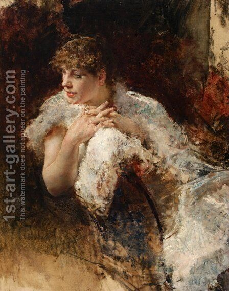 A Lady from Naples by Giuseppe de Nittis - Reproduction Oil Painting