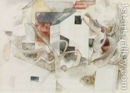 Trees and Barns Bermuda by Charles Demuth - Reproduction Oil Painting
