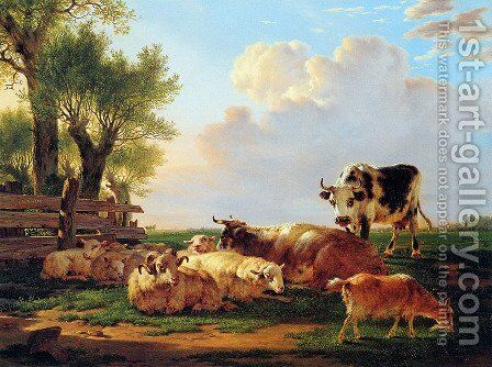 Meadow with cattle by Jacob van Strij - Reproduction Oil Painting