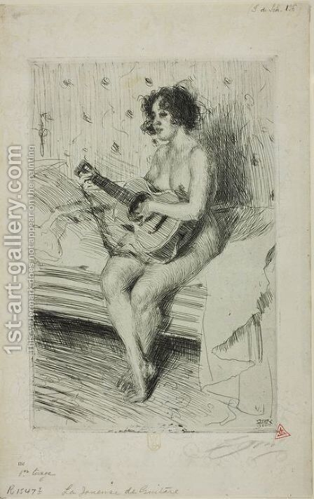 Guitar player by Anders Zorn - Reproduction Oil Painting