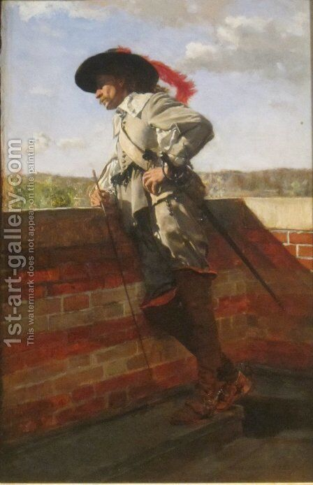 On a Terrace by Jean-Louis-Ernest Meissonier - Reproduction Oil Painting
