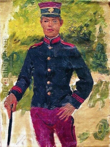 The young soldier. Parisian style by Ilya Efimovich Efimovich Repin - Reproduction Oil Painting