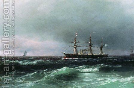 Ship at sea 2 by Ivan Konstantinovich Aivazovsky - Reproduction Oil Painting