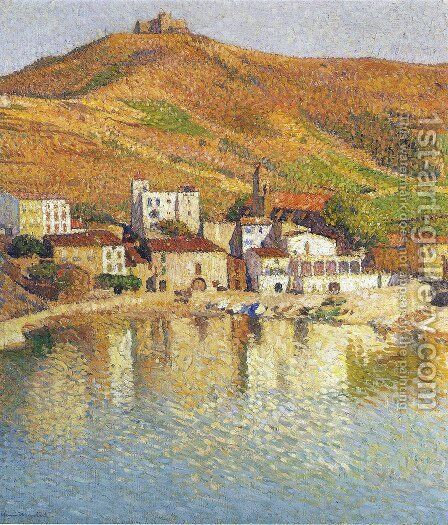 The Bay of Colliure near the Port by Henri Martin - Reproduction Oil Painting