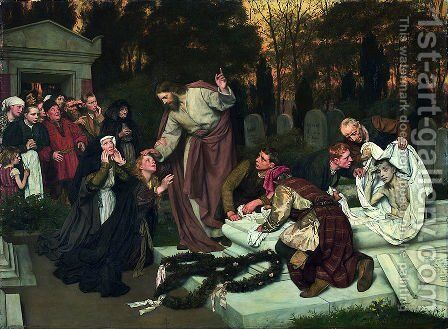 The Raising of Lazarus by Eduard Karl Franz von Gebhardt - Reproduction Oil Painting