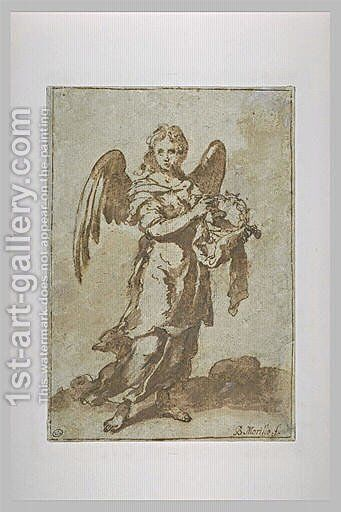 Angel Holding the Crown of Thorns by Bartolome Esteban Murillo - Reproduction Oil Painting