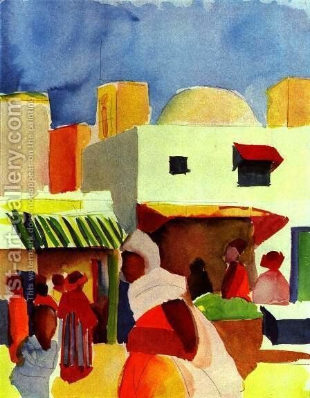 Market in Algiers by August Macke - Reproduction Oil Painting
