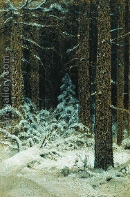 In winter by Ivan Shishkin - Reproduction Oil Painting