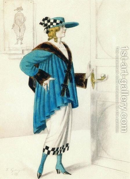 Designs of female costume by Boris Kustodiev - Reproduction Oil Painting