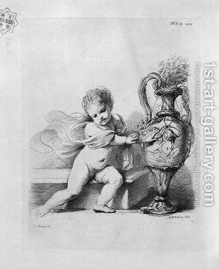 Cherub sitting next to a pitcher by Guercino by Giovanni Battista Piranesi - Reproduction Oil Painting