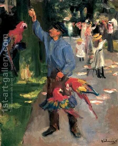 Man with parrots by Max Liebermann - Reproduction Oil Painting