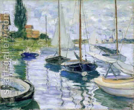 Boats at rest, at Petit-Gennevilliers by Claude Oscar Monet - Reproduction Oil Painting