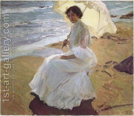 Clothilde at the Beach by Joaquin Sorolla y Bastida - Reproduction Oil Painting