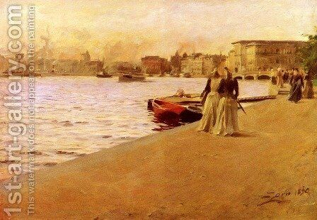 View from the Ship Island pier by Anders Zorn - Reproduction Oil Painting